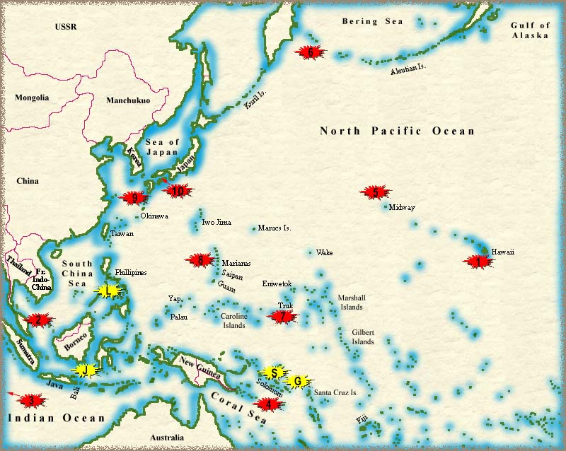 map of where each battle in the pacific took place chronologically